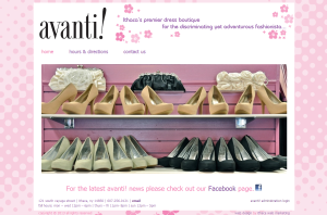 Avanti Boutique - ecommerce website from Ithaca Web Marketing